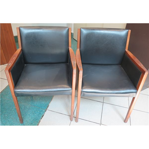 "Qty 2 Taylor Chair Co. Wooden Upholstered Arm Chairs 22""x18""x32"""
