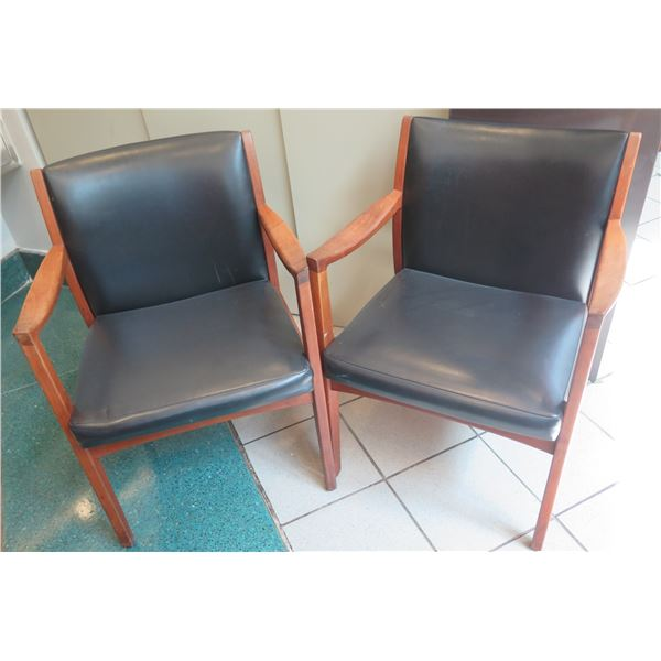 "Qty 2 Johnson Chair Co. Wooden Upholstered Arm Chairs 23""x19""x32"""