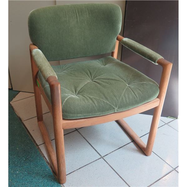 "Hayes Wooden Upholstered Arm Chair w/ Padded Arms 24""x20""x32"""