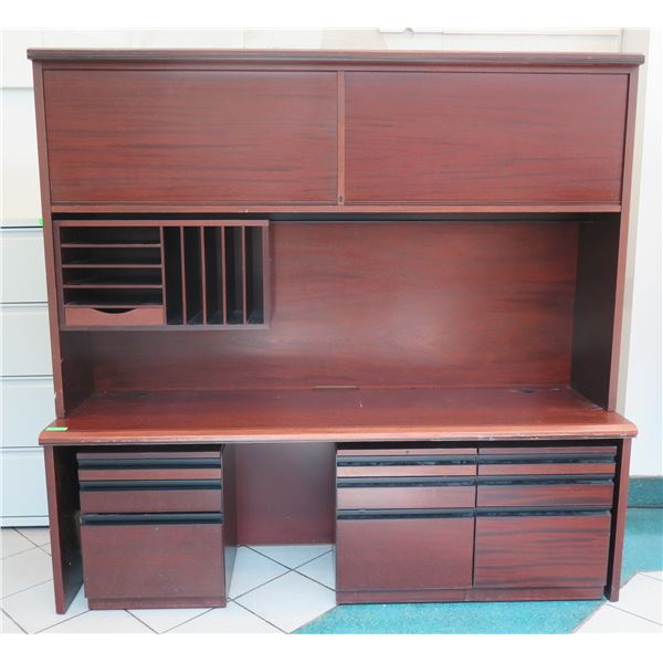 "Wooden Multi-Section Desk w/ Hutch, 2 Top Cabinets & 3 File Cabinets 79""x22""x75"""