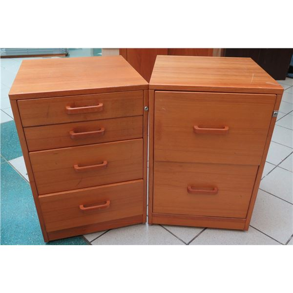 "Qty 2 Jesper Int'l Wooden Cabinets: 2 Drawer File & 4 Drawer 18""x20""x27"