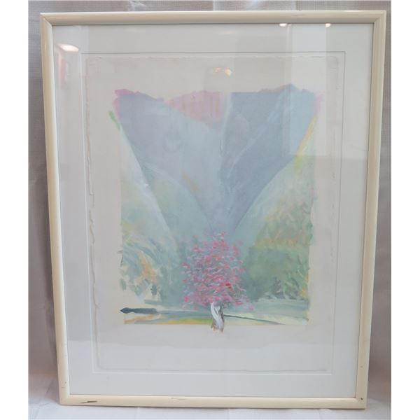 """Abstract Floral Art Work Signed by Artist '85 Framed & Matted 31""""x38"""""""