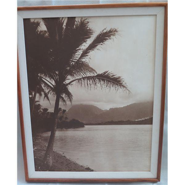 "Black & White Beach Scene Print Matted in Wooden Frame 25""x32"""