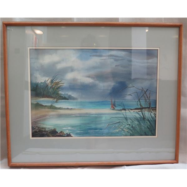 """Beach Art Work Signed by Artist Joan Boone Matted in Wooden Frame 32""""x27"""""""