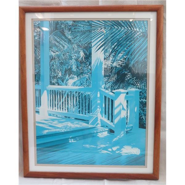 """Porch & Palm Art Work Signed by Artist Alice Dalton Brown in Wooden Frame 29""""x37"""""""