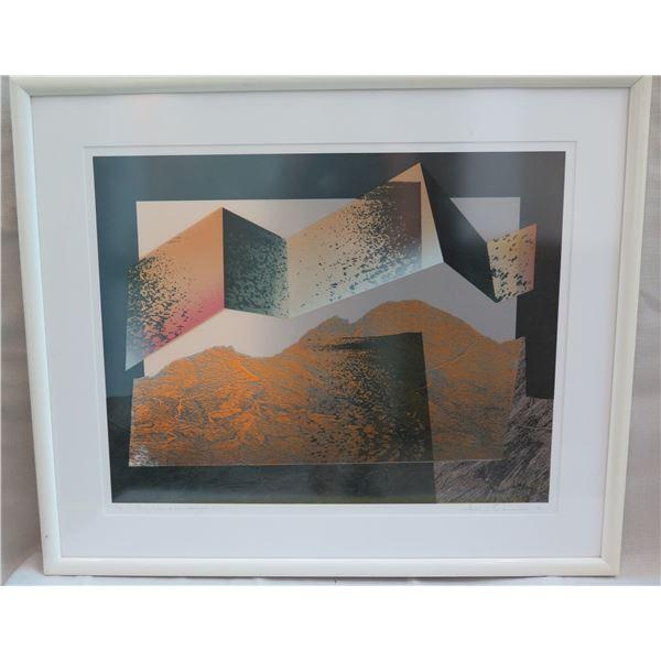 "Big Island Landscape Signed by Brombey (?) 1/25 Framed & Matted 34""x28"""
