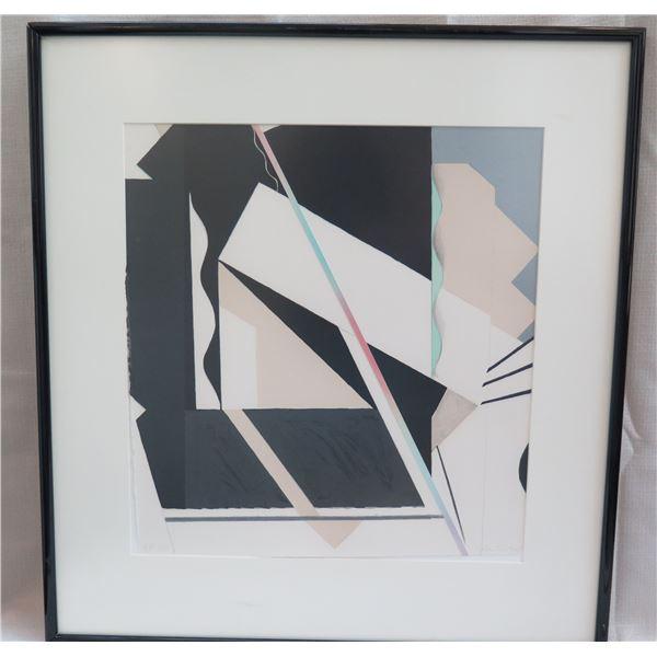 Abstract Art Work Signed by Artist Helen Gilbert 2/10 Matted & Framed