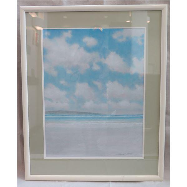 "Beach Art Work Signed by Artist Lowrey Matted & Framed 27""x34"""
