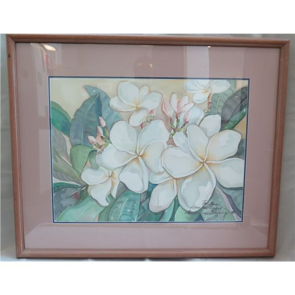 """Floral Art Work Signed by Artist Snelling '93 Matted in Wooden Frame 41""""x35"""""""