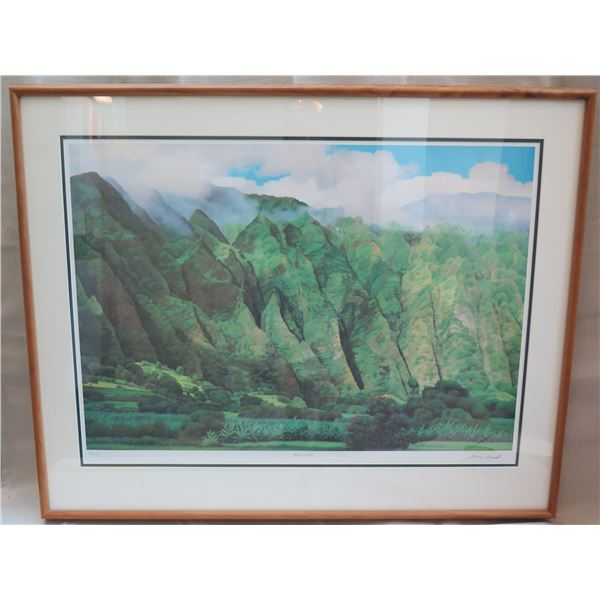 """Kaneohe Cliffs Art Signed by Artist Gary Reed 148/500 in Wooden Frame 39""""x32"""""""