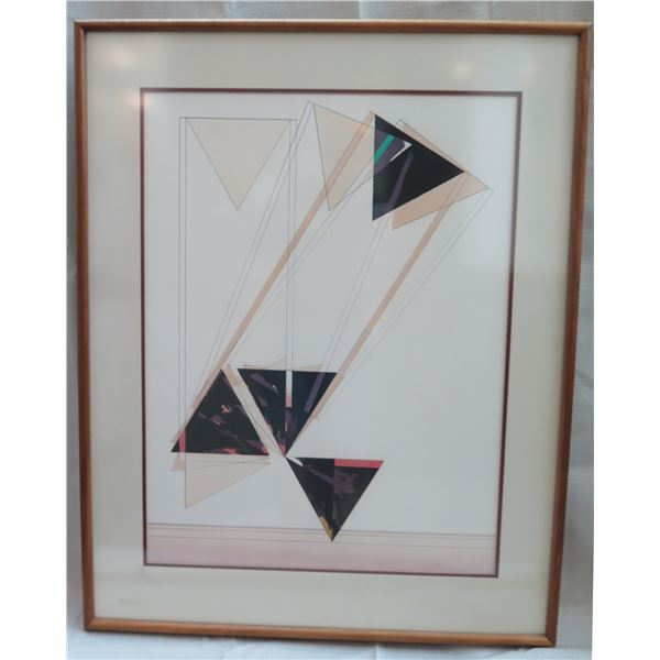 """Abstract Art Work Signed by Artist Bushall (?) 18/35 Matted in Wooden Frame 38""""H"""