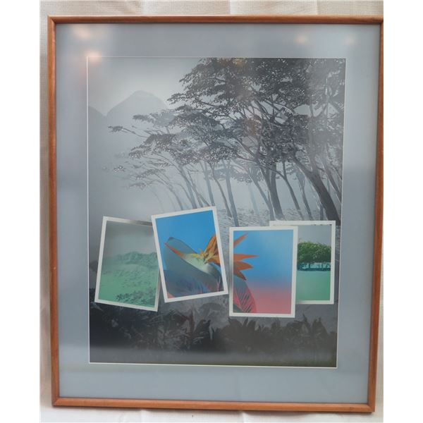 """Print w/ Postcards Signed by Artist Thetapha (?) Matted in Wooden Frame 30""""x36"""""""