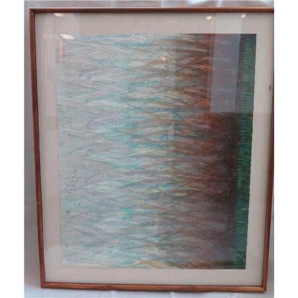 """Abstract Duet II Art Work Signed by Artist K. Suzuki 45/300 Wooden Frame 35""""x42"""""""