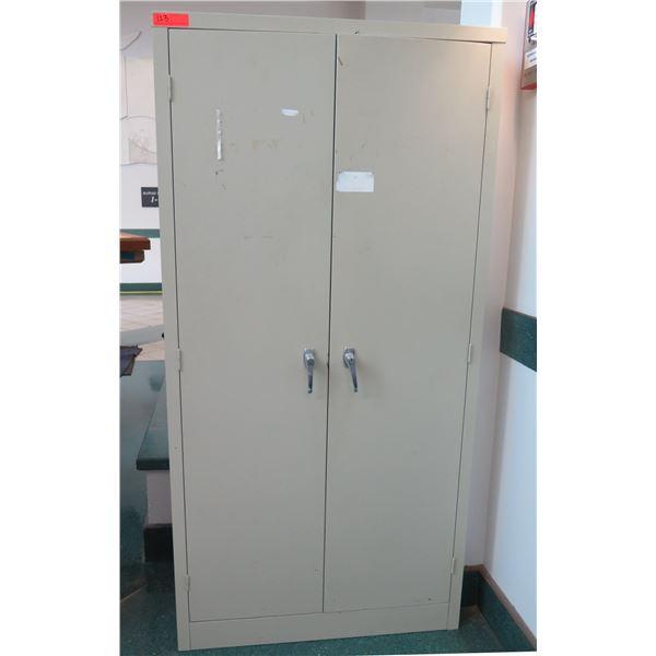 """Beige Metal 2 Door Locking Cabinet w/ 5 Shelves Inside 35""""x18""""x72""""H"""