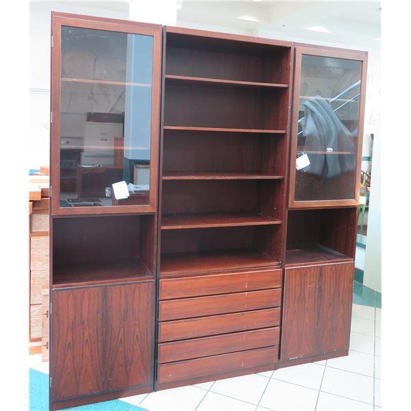 Scan-Flex Wood 3 Section Shelf w/ 2 Door Cabinets, 5 Drawers & Top Shelves