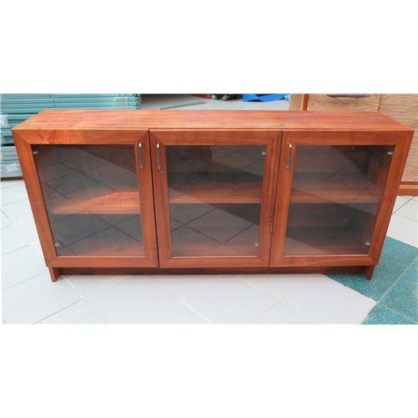 """Wood 3 Section Sideboard Cabinet w/ Glass Doors & Inside Shelf 60""""x13""""x29"""""""