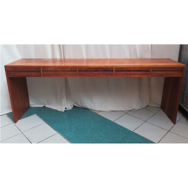 """Long Wood Entry Table w/ Under Drawers 82""""x18""""x30"""""""