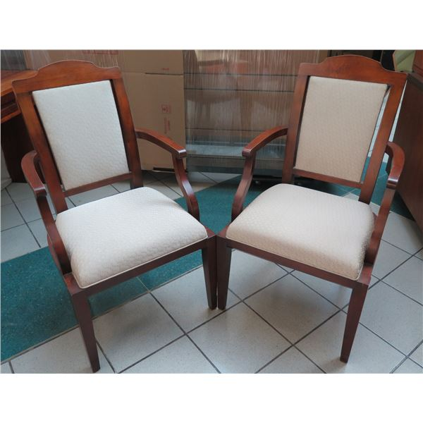 Qty 2 Hickory Furniture Wooden Upholstered Arm Chairs