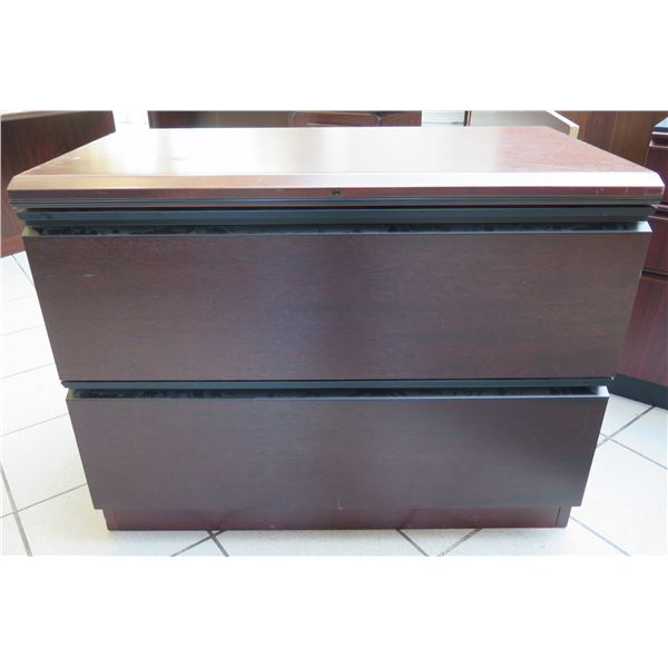 """Qty 2 Black Metal 2 Drawer Lateral Legal File Cabinet w/ Wooden Top 37""""x19""""x28"""""""