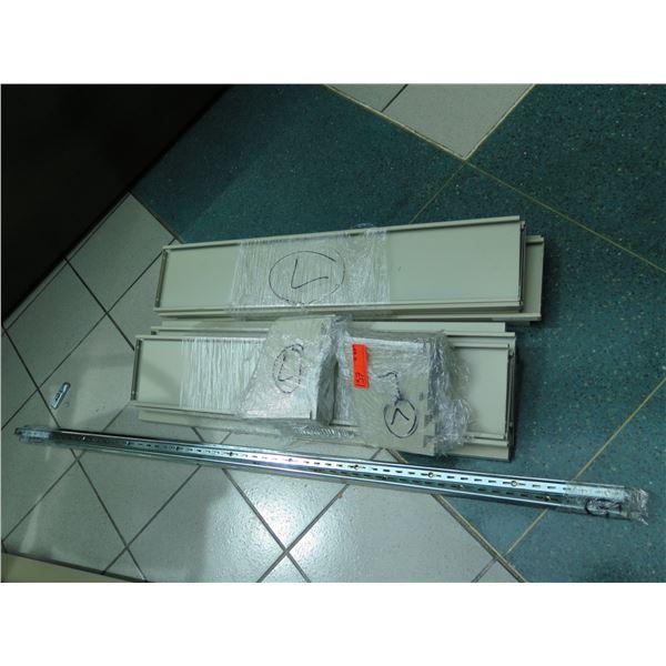 "Narrow Metal Shelving Unit w/Corner Spines & Metal Shelving Decks 60""H"