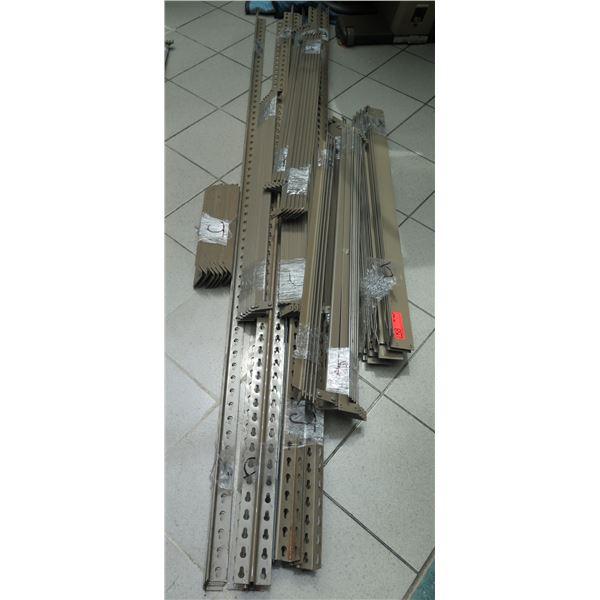 "Metal Shelving Unit 96""Tall w/Corner Spines, Hardware & 10 Pressboard Shelving Sheets 42x15"