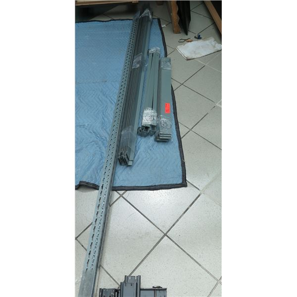 "Gray Metal Shelving Unit 95"" Tall w/Corner Spines, Hardware & 10 Pressboard Shelving Sheets 96""Tall"