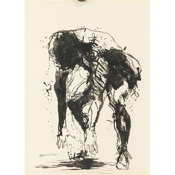 Polish Signed Ink on Paper Sketch of Figure