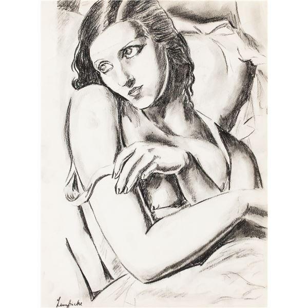 Tamara de Lempicka Polish Charcoal on Paper
