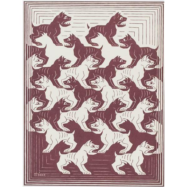 M. C. Escher Dutch Signed Linocut 48/200