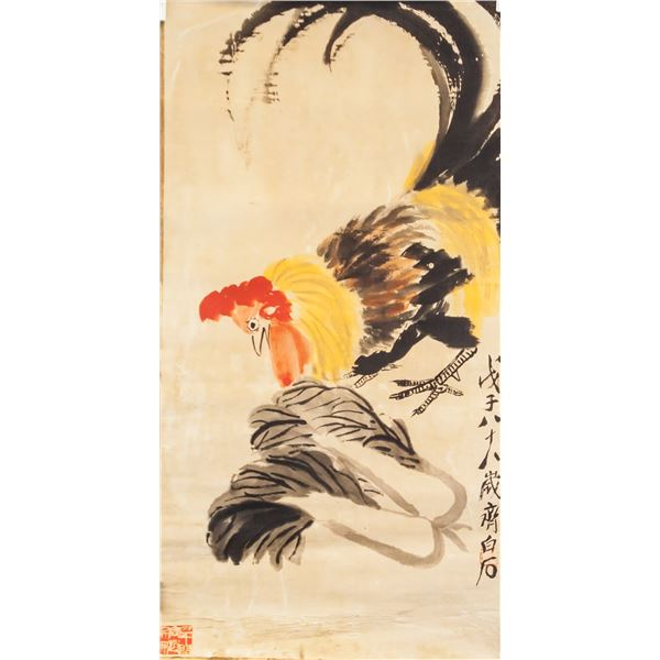 Qi Baishi 1864-1957 Chinese Watercolor Rooster