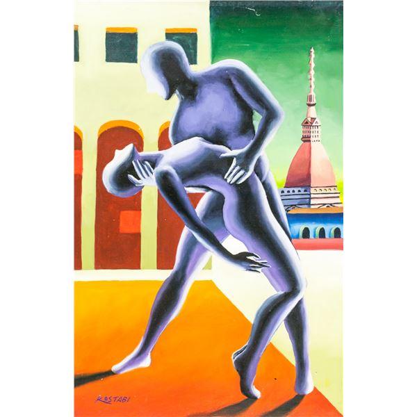 Mark Kostabi American Modernist Oil on Canvas