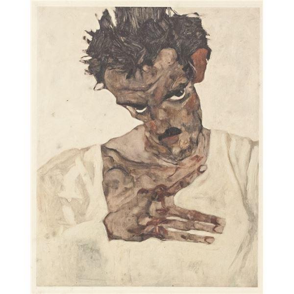 Egon Schiele Austrian Signed Linocut on Paper