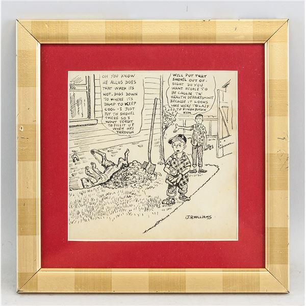 J.R. Williams US Pop Art Ink Paper Signed C.1920