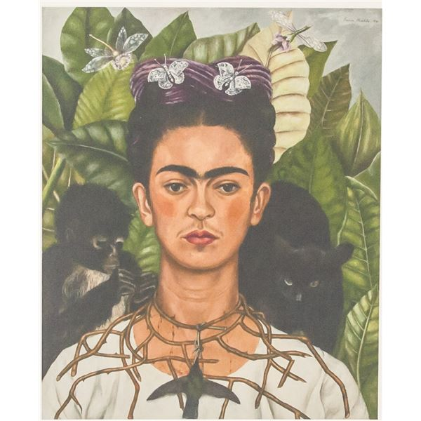 Frida Kahlo Mexican Signed Linocut on Paper