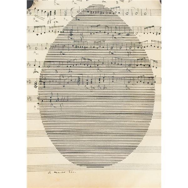 Agnes Martin American Modernist Ink on Music Sheet