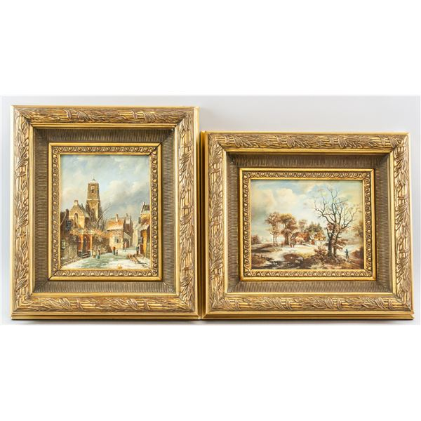 Paul Thomas French Oil on Board Pair
