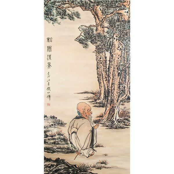 Qian Huafo 1884-1964 Chinese Watercolor on Roll