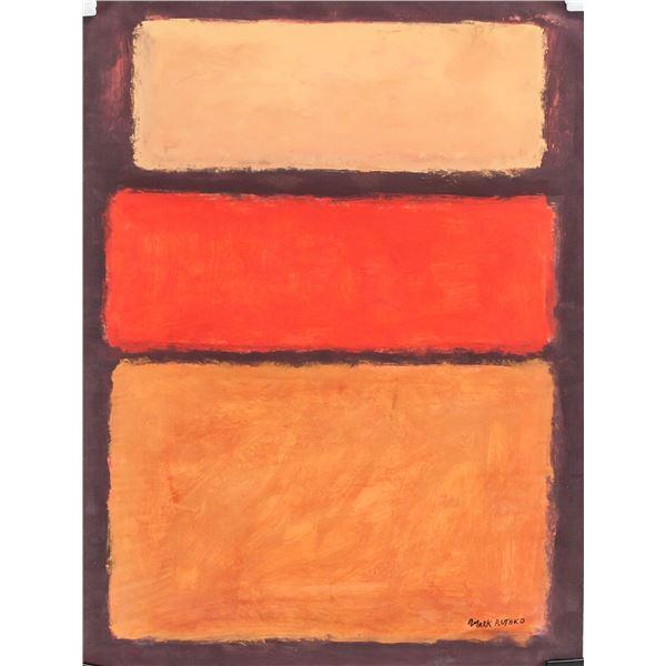 Mark Rothko American Gouache on Paper COA