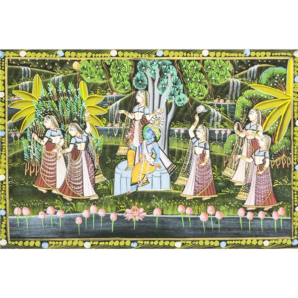 Indian Watercolor on Silk Imperial Scene
