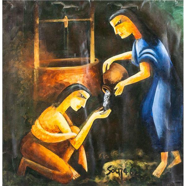 "Francis Newton Souza Indian Oil on Canvas ""62"""