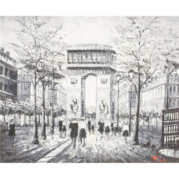 Signed Yu Oil on Canvas Paris Scene