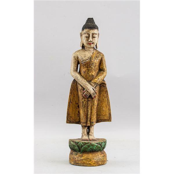 Old Thai Wood Carved Shakyamuni Buddha Statue