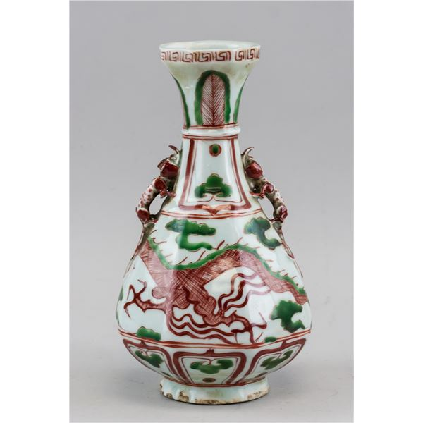 Chinese Copper Red & Green Hexagonal Vase