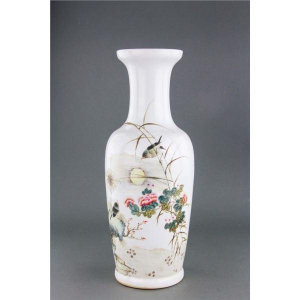 Chinese Republic Porcelain Vase Signed Liu Yucen