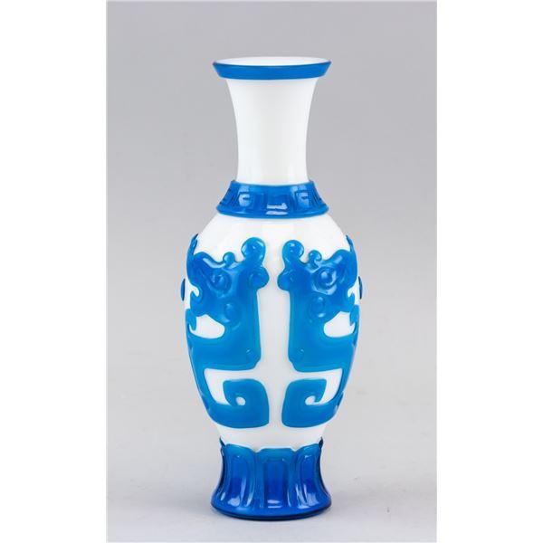 Qing Period Chinese Blue Peking Glass Vase
