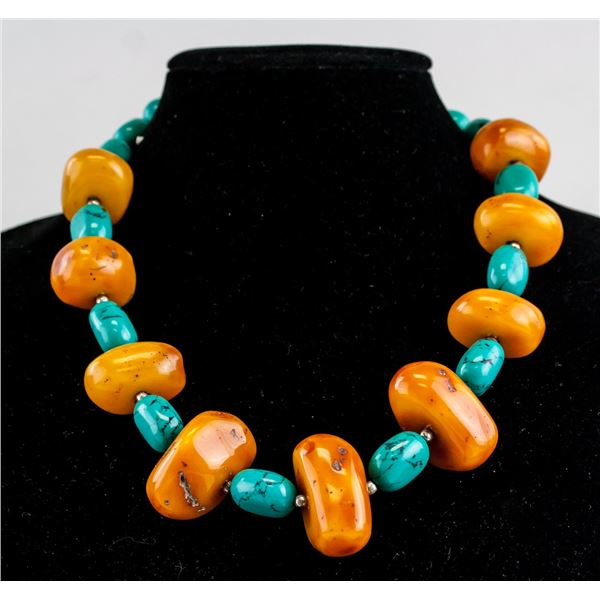 Chinese Amber and Turquoise Necklace