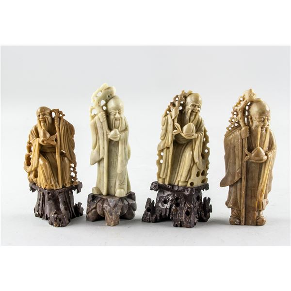 4 Assorted Chinese Hardstone Shouxing Statues