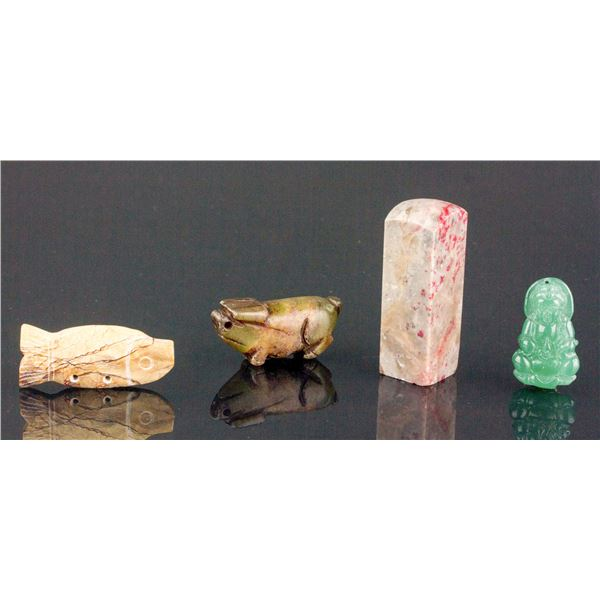 Lot of 4 Chinese Assorted Jade and Hardstone Items