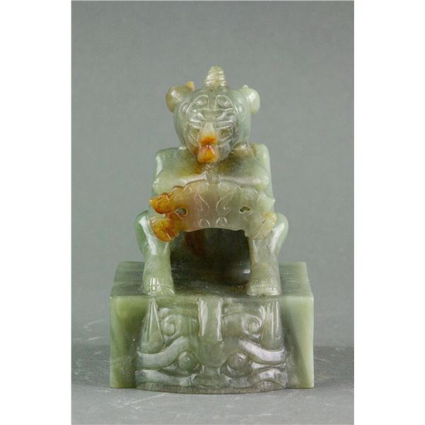 Chinese Song Dynasty Hetian Green Jade Carved Seal