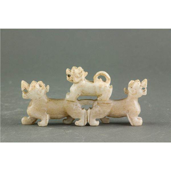Chinese Archaistic Hetian White Jade Tiger Toggle